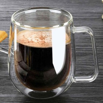 Double Wall Glass Mugs 250ml High Quality Fashion Cups with Handle for Tea Milk Coffee - intl Price Philippines