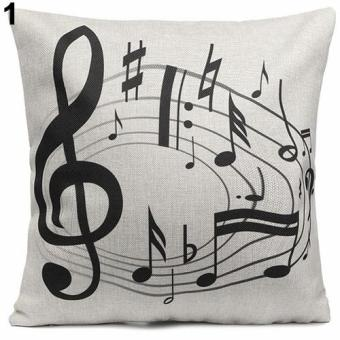 Broadfashion Square Music Notes Melody Linen Throw Pillow Case Waist Sofa Cushion Cover 1 - intl Price Philippines