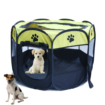 Pet Do g Bed Kennel Play Pen Soft Playpen Cage Folding Crate Yellow (Size:L) Price Philippines