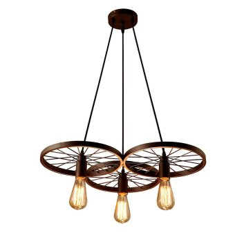 Harga LIXADA 3 Arms E27 Hanging Metal Wheels Ceiling Pendant Light Vintage Industrial Retro Country Style Chandelier Dining Hall Restaurant Bar Cafe Lighting Use - Intl
