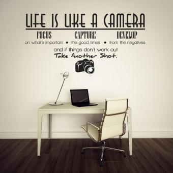 Harga Unique Removable Life Is Like A Camera Quote Wall Stickers Decals Home Office