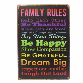 Harga Family Rules Be Happy Metal Tin Wall Art Decor