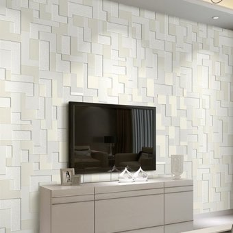 Harga Modern Simple Style Surface Geometric Nonwoven Wallpaper 3D Non-woven Wall Decoration