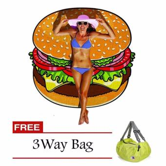 Harga Beach Towel (Burger) with Free 3 Way Bag (Color May Vary)
