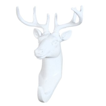 BolehDeals Decorative Deer Head Wall Mount Hanger Resin Coat Hat Hook Rustic White Price Philippines