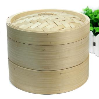 Harga BU 2 Tier Bamboo Steamer Set with Two Layers and One Lid for Home Kitchen Cookware - intl