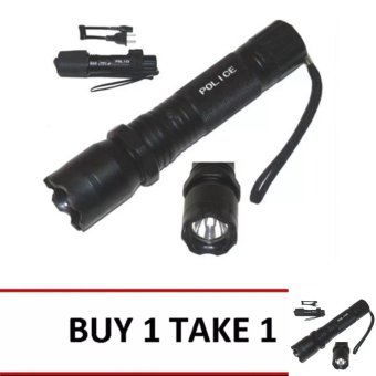 Harga Rechargeable Police Flashlight with Stun Gun Taser (Black) Buy 1 Take 1