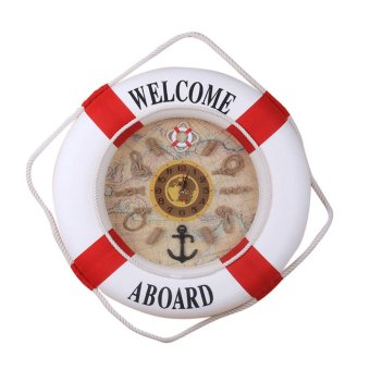 35cm Wall Door Hanging Nautical Coast Life Buoy Ring Clock Plaque Decor Red Price Philippines