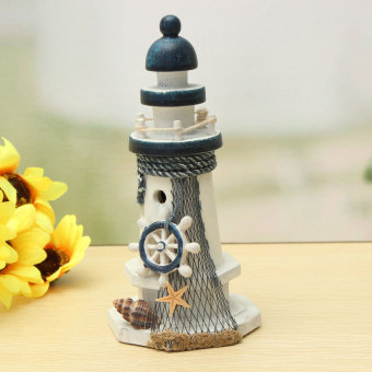 Mediterranean Wooden Light House Tower Nautical Starfish Shell Lifebouy Decor - intl Price Philippines