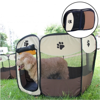 Pet Dog Bed Kennel Play Pen Soft Playpen Cage Folding Crate Brown (Size:L) Price Philippines