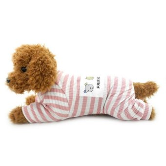 Harga Stripe Outfits for Small Dog Pet Cotton Pajamas Doggie Jumpsuit Yorkie Clothes Pink M - intl