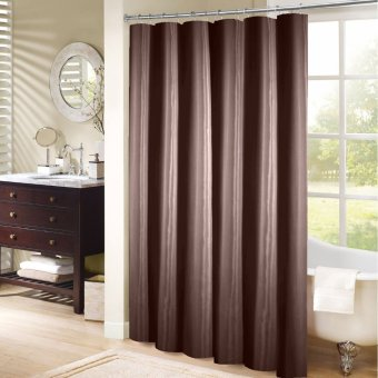 Harga Bath House Solid Nylon Shower Curtain with 12 Curtain Rings (Brown)