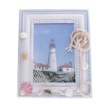 MagiDeal Nautical Theme Photo Frame with Shell Starfish Net Burlap Rope Decoration - intl Price Philippines