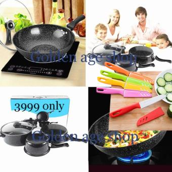 BIG SIZE As seen on TV 9 IN 1 Big promotion Maifan stone pan and knife set Black Price Philippines