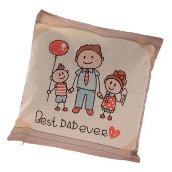 Harga MagiDeal BEST DAD EVER Linen Throw Pillow Case (Dad & Kids)