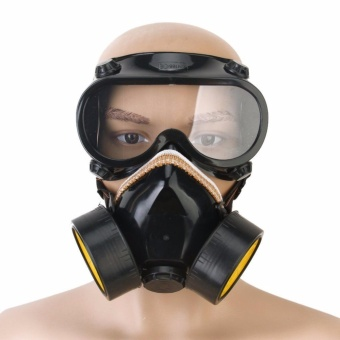 INDUSTRIAL CHEMICAL GAS ANTI-DUST SPRAY PAINT DUAL RESPIRATOR MASK WITH GOGGLES - intl Price Philippines