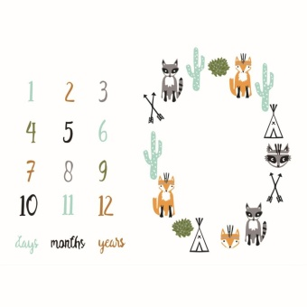 Infant Baby Milestone Number Mat Blanket Photography Background Backdrop Cloth - intl