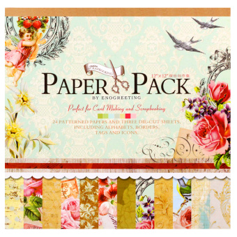 INSPIRE 24 Patterned Papers & Die-cut Sheets Creative FloralScrapbooking Paper Pack #03