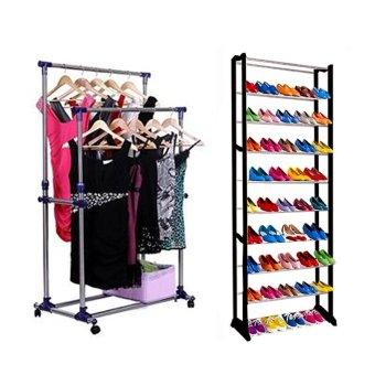 J&A Adjustable Double Pole Clothes Rack With High QualityAmazing Shoe Rack (Black)