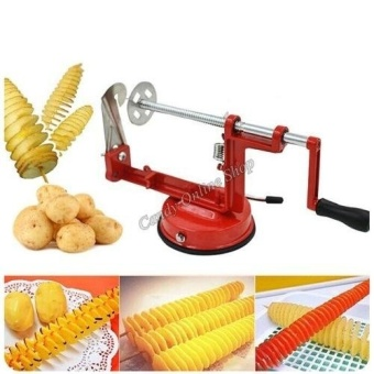 J&C Potato Machine Stainless Steel Multi - Function SlicerManual Rotation Potato Chips Cut Potato Tower Spiral String CuttingMachine