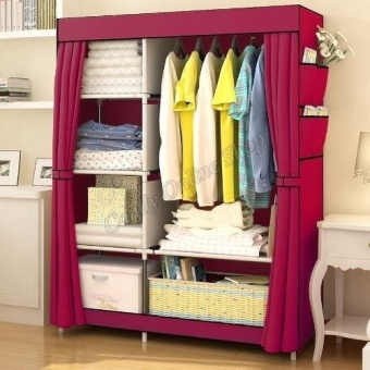 J&C Quality Fashion Multifunction Cloth Wardrobe StorageCabinets (Wine Red) Price Philippines