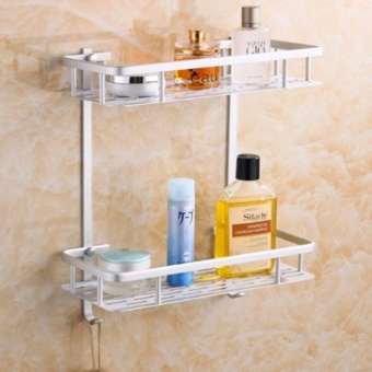 J&Chigh Quality 2 Tier Bathroom Storage Organizer Holder ShelfWith Hooks T502 Price Philippines