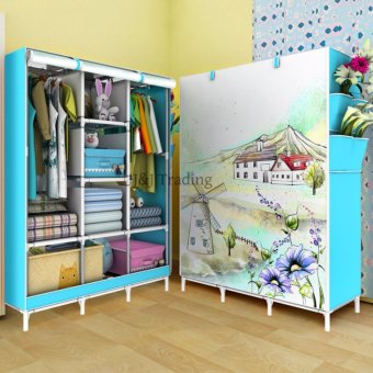 J&J 3D Pattern Non-Woven Folding Cloth Wardrobe Home Closet(Blue)