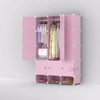 J&J Plastic Closet Storage 12 Door with Shoe Rack - Blush Pink
