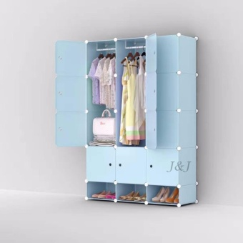 J&J Plastic Closet Storage 12 Door with Shoe Rack - Light Blue