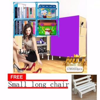 JAPAN and USA best selling free Small long chair bookshelf &Quality Shoe Rack Storage Shelf Organizer Cabinet Cover PocketsMulticolor