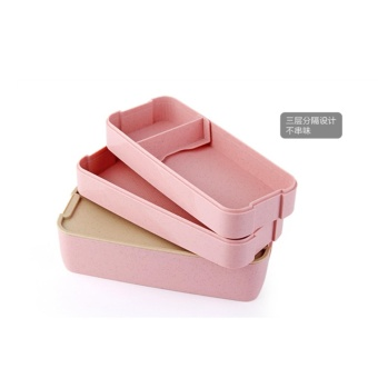 Japanese-style microwave lunch box Cute three-layer student lunchbox box with a bag sub-box - intl
