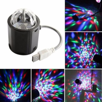 Jeebel USB Crystal Magic Ball LED Stage Light Bar Colorful RotatingLight Flashlight Outdoor Party Disco Party Square Dance Dazzling -intl