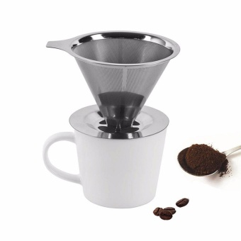 jiaxiang Stainless Steel Coffee Filter Reusable Paperless Pour Over Cone Dripper with Cup Stand - intl
