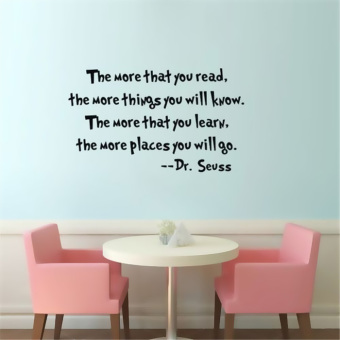 JinGle Dr Seuss The More That You Read You Know Vinyl Quotes WallSticker (Black) Price Philippines