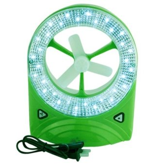 JR-5560 Rechargeable LED Light with Fan ( Green)