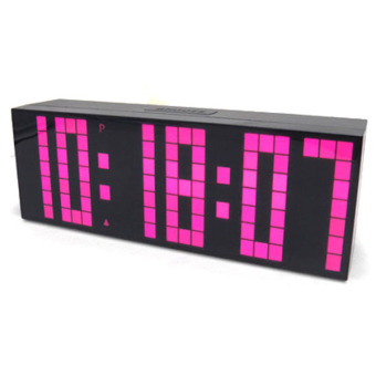 Jumbo Digital Electronic Clock LED Alarm Clock 6 digits (Pink) Price Philippines