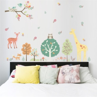 Jungle Wild Animals Owls Giraffe Tree wall stickers for kids room Children Wall Decal Nursery Bedroom Decor Poster Mural - intl
