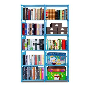 Keimav Quality Home Furniture Adjustable Bookcase Storage Bookshelfwith 10 Book Shelves