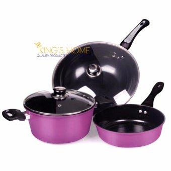 King's Home 5 Pcs Non Stick Induction Safe Pot and Pans Cook Set