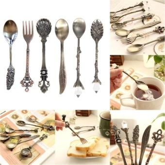 Kitchen Bar Vintage Royal Style Metal Carved Mini Coffee Spoons andFork - intl - 2
