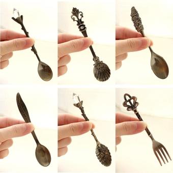 Kitchen Bar Vintage Royal Style Metal Carved Mini Coffee Spoons andFork - intl - 3