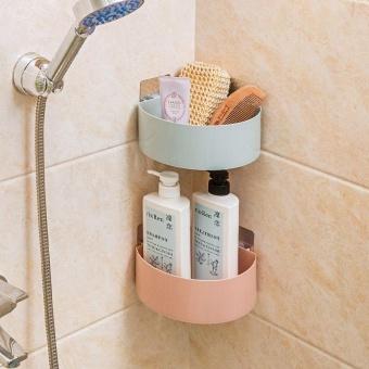 Kitchen Bathroom Corner Storage Holder Shelf Shower Caddy ToolOrganizer Rack Basket Sucker Cup - intl - 3