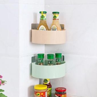 Kitchen Bathroom Corner Storage Holder Shelf Shower Caddy ToolOrganizer Rack Basket Sucker Cup - intl - 2