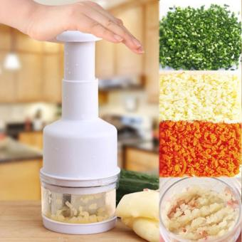 Kitchen Pressing Food Chopper Cutter Slicer Peeler Dicer VegetableOnion Garlic (White)