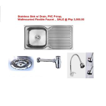 Kitchen Sink Package Set (Sink, PVC Fittings, Wall Mount FlexFaucet) Price Philippines