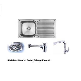 Kitchen Sink Package Set (Sink, PVC Fittings,Faucet)