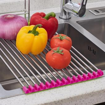 Kitchen Sink Stainless Steel Medium Folding Drain Rack 37*23CM