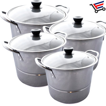 Kitchen Stainless Steel Cookware Stockpot Cooking Ware 12-Piece Set