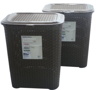Klio Laundry Basket Woven Style with cover 0306 Set of 2 (Brown)