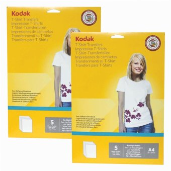 Kodak Heat Transfer Paper for Light Color T-Shirt A4 (5 Sheets perPack ) Pack of 2